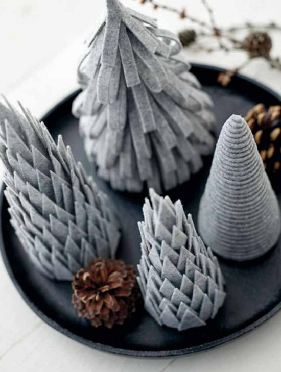 puristische weihnachtsdeko filz tannenbäume tischdeko