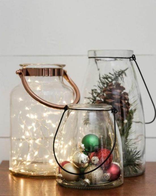 puristische weihnachtsdeko gläser lichterkette zapfen