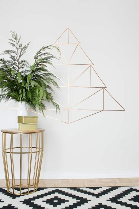 puristische weihnachtsdeko minimalistischer weihnachtsbaum gold