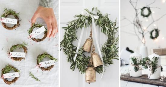 puristische weihnachtsdeko mit rosmarin basteln