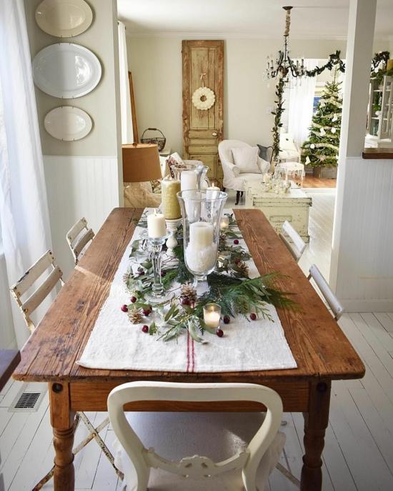 puristische weihnachtsdeko rustikale tischdeko gestalten