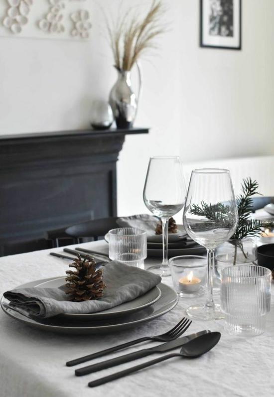 puristische weihnachtsdeko tischdeko rustikal zapfen