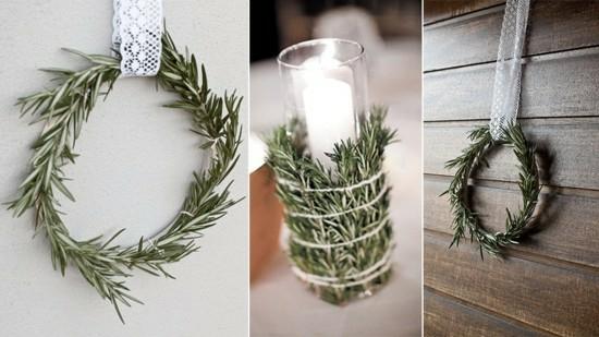 puristische weihnachtsdeko windlichter kranz rosmarin