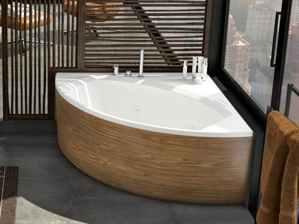 rustikale Eckbadewanne die clevere Lösung fürs kleine Badezimmer