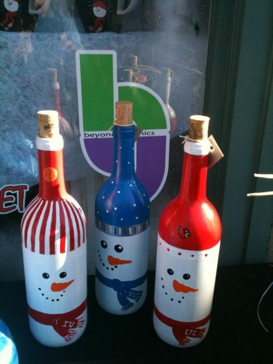 schneemann basteln glasflaschen dekorieren