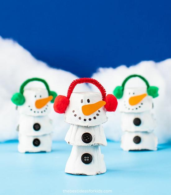 schneemann basteln mit kindern zu weihnachten