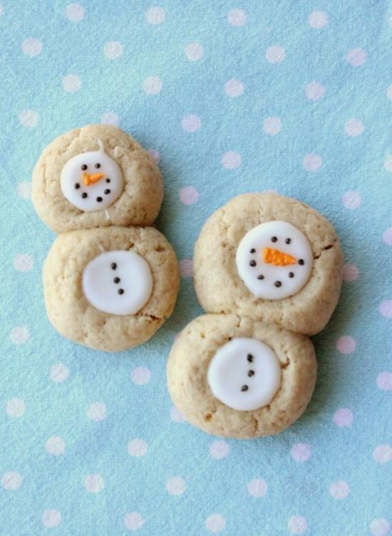 schneemann basteln süße kekse