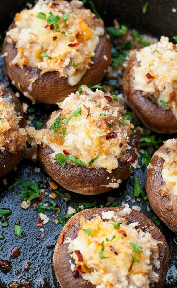 sillvestermenü gefüllte champignons mit crabben