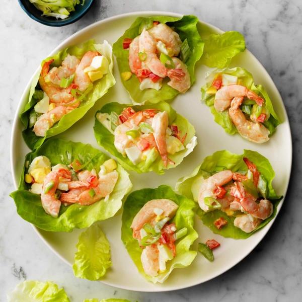 sillvestermenü vorspeise salat shrimps