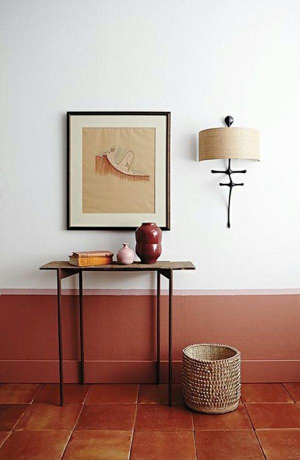 terrakotta fliesen wandfarbe flur gestalten arbeitszimmer