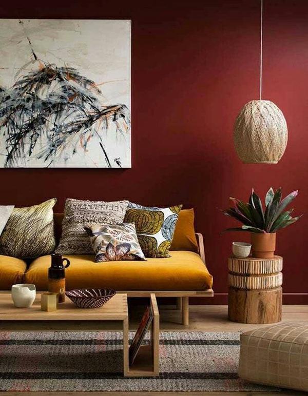 terrakotta moderne wohnzimmereinrichtung senf sofa afrikanischer stil