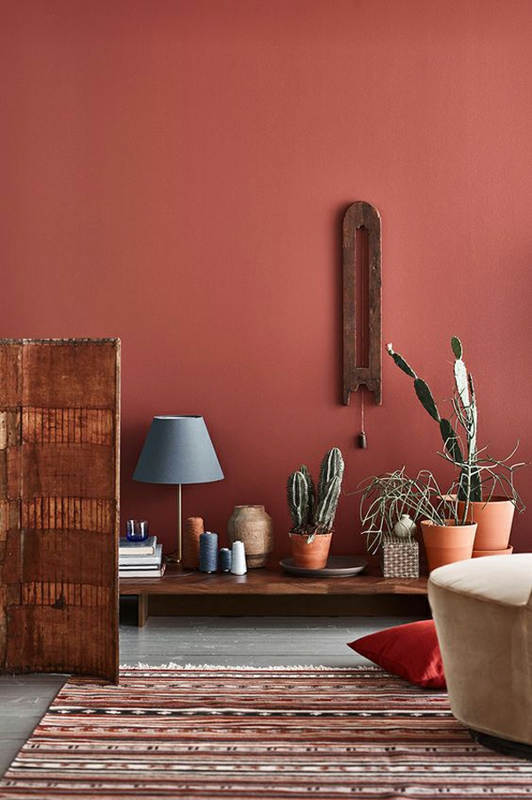 terrakotta wandfarbe boho stil