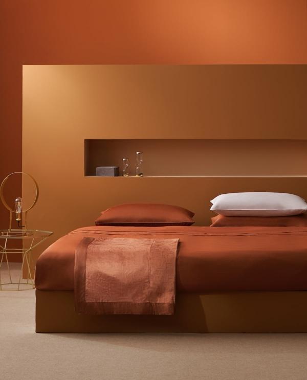 terrakotta wandfarbe schlafzimmer bettwäsche