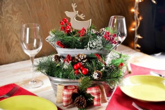 upcycling tischdeko weihnachten zapfen tannengrün