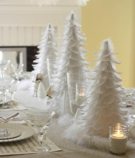 weiße tischdeko weihnachten aus federn