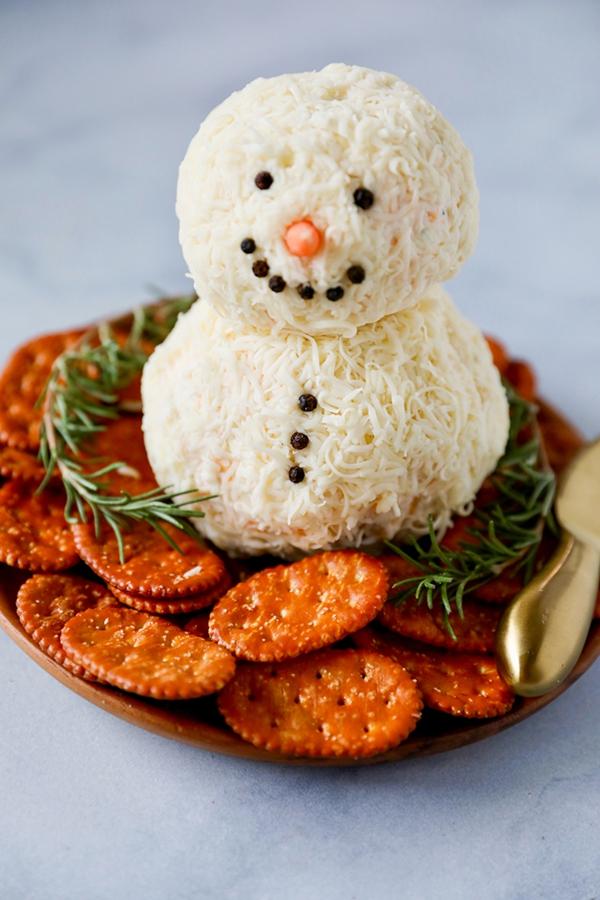 weihnachtliche vorspeise schneemann