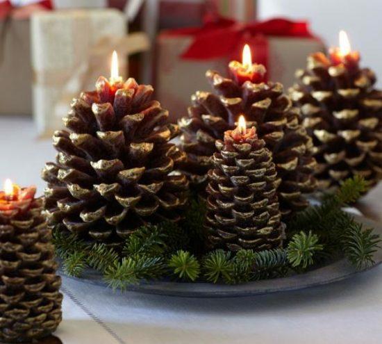 zapfen kerzen tischdeko weihnachten selber machen