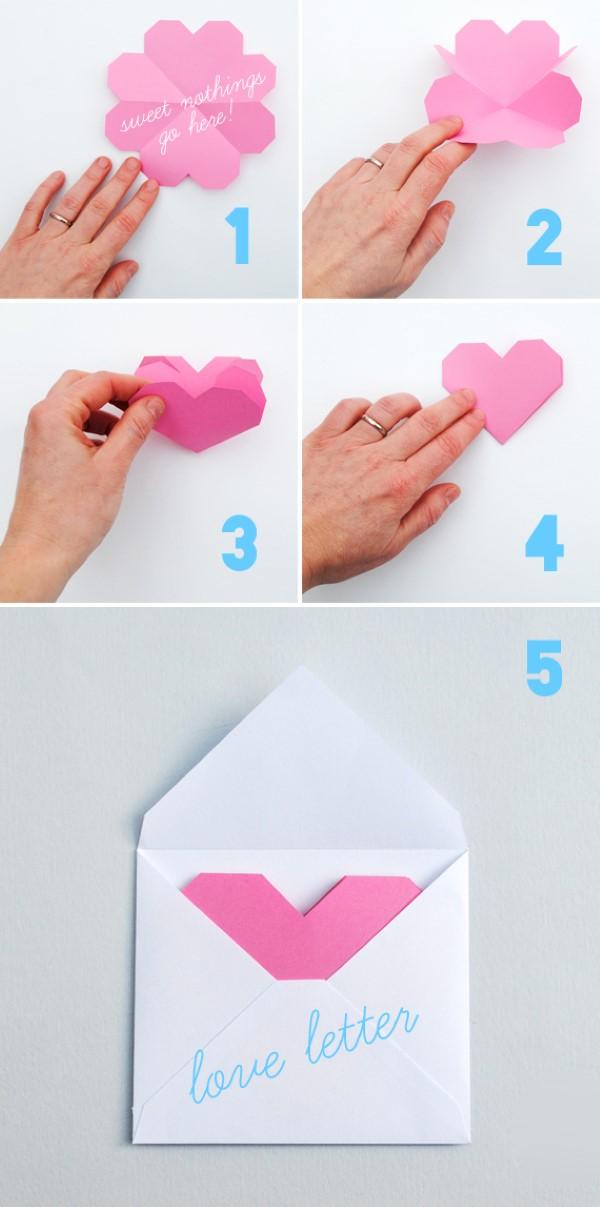 3D Klappkarte basteln zu Valentinstag – coole Ideen und Anleitungen anleitung klapp herz umschlag