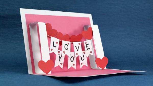 3D Klappkarte basteln zu Valentinstag – coole Ideen und Anleitungen einfache anleitung basteln i love you