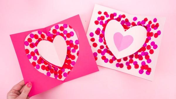 3D Klappkarte basteln zu Valentinstag – coole Ideen und Anleitungen einfache karte herzen ideen