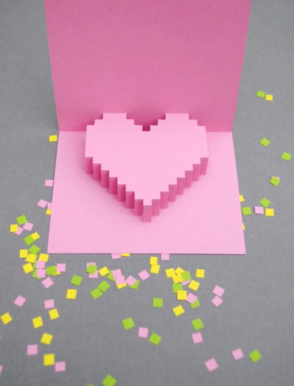 3D Klappkarte basteln zu Valentinstag – coole Ideen und Anleitungen gaming pixel karte