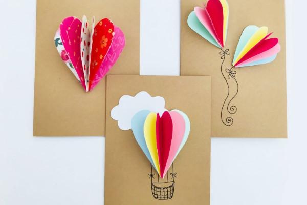 3D Klappkarte basteln zu Valentinstag – coole Ideen und Anleitungen heißluftballon basteln ideen