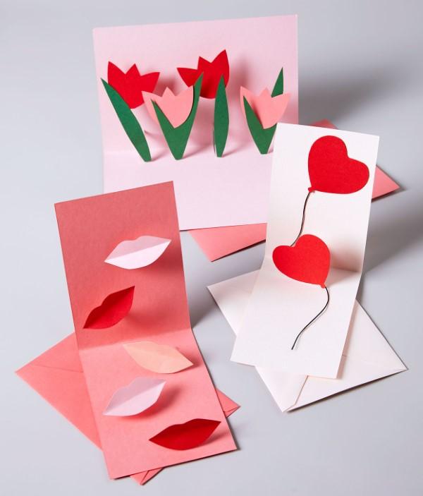 3D Klappkarte basteln zu Valentinstag – coole Ideen und Anleitungen karten verschieden kreativ
