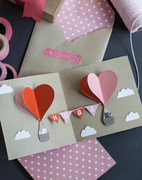 DIY Geschenke zum Valentinstag tolle Überraschung zum Fest 3D Klappkarte niedliche Nachricht