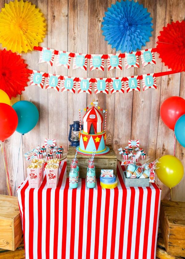 Faschingsdeko basteln – Anleitungen und Spielideen für Groß und Klein party buffet karneval bunt