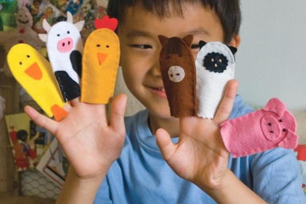 Fingerpuppen basteln Anleitung Bastelideen Filztier Basteln mit Kindern