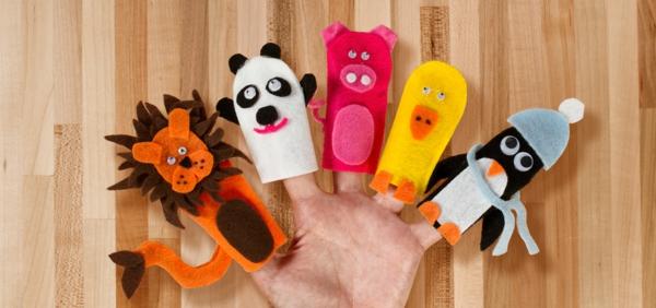 Fingerpuppen basteln Anleitung Filztier selber machen