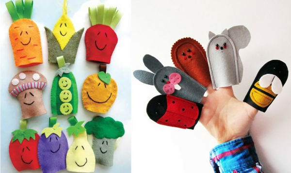 Fingerpuppen basteln Filztier Basteln mit Kindern