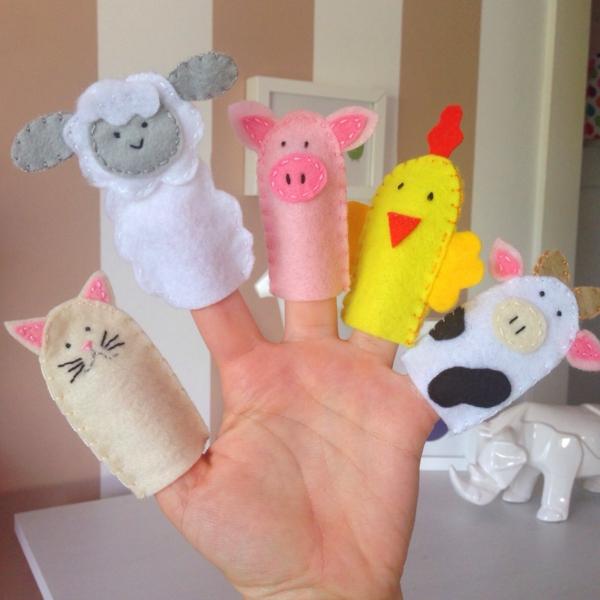 Fingerpuppen basteln Filztier für Kleinkinder