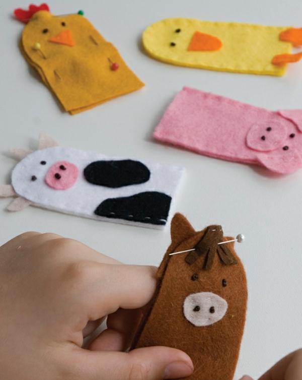 Fingerpuppen basteln Ideen Filztier Basteln mit Kindern
