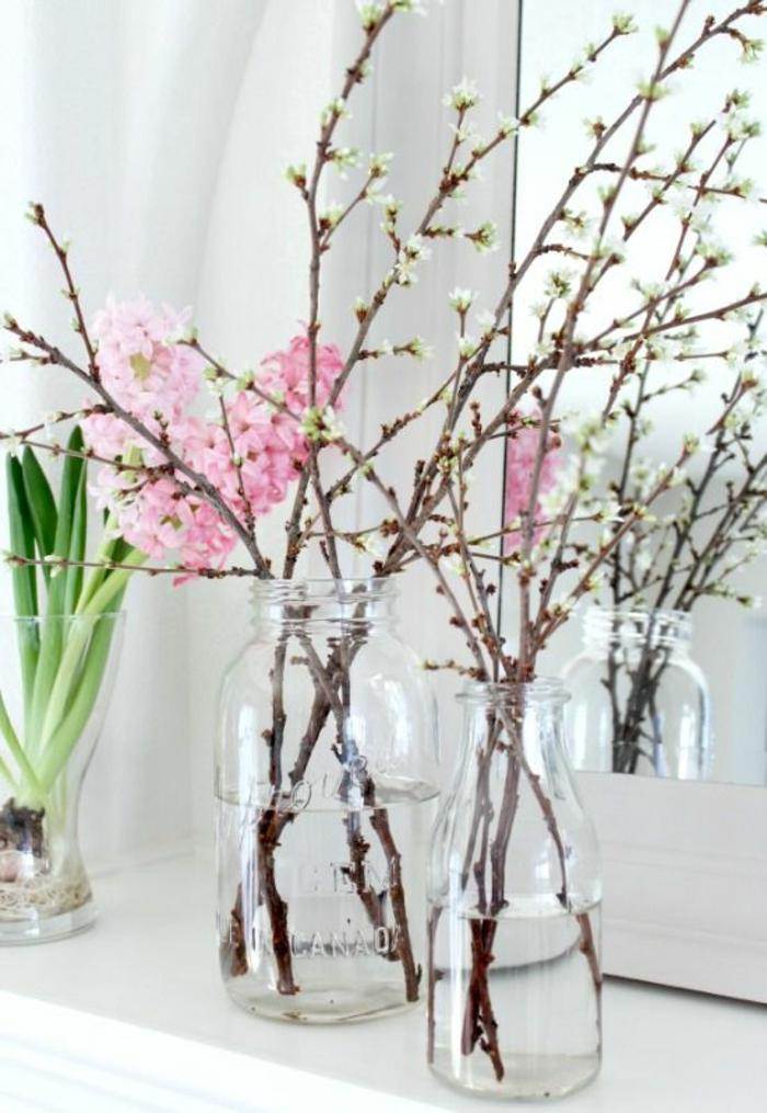 Frühlingsdeko basteln mit Naturmaterialien fr[hlingsblumen