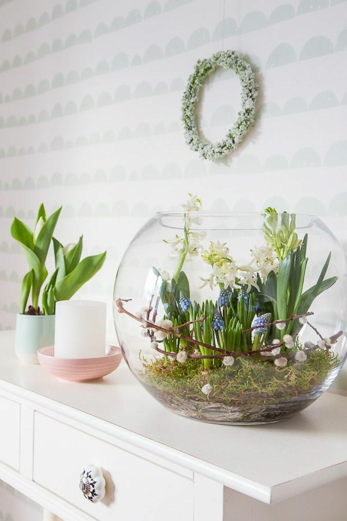 Frühlingsdeko basteln mit Naturmaterialien im aquarium