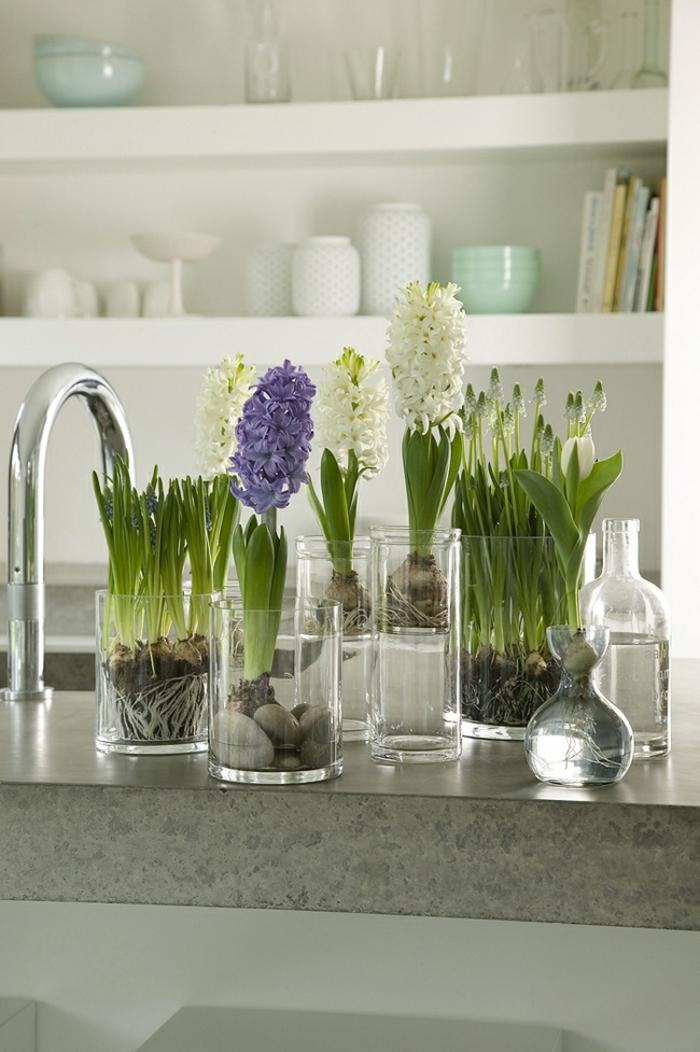 Frühlingsdeko basteln mit Naturmaterialien küche