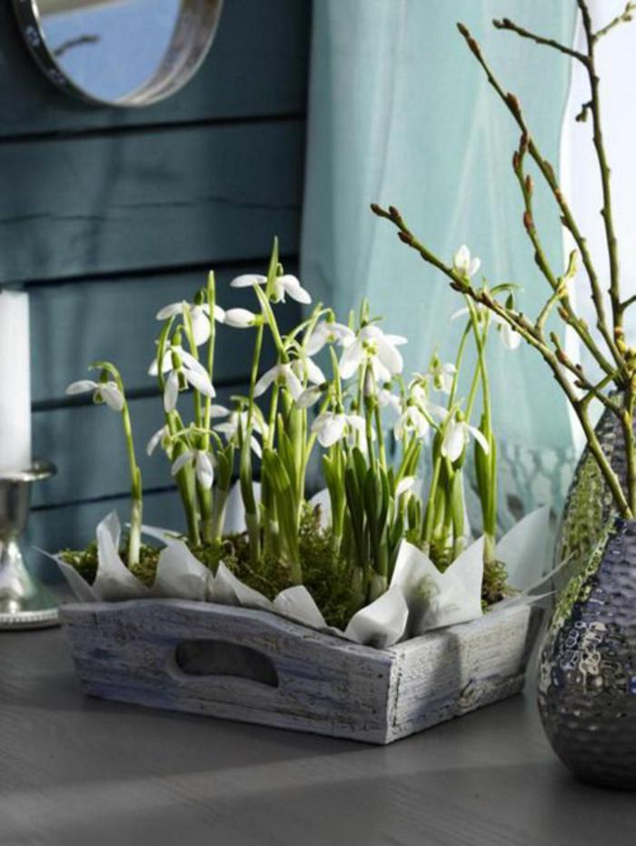 Frühlingsdeko basteln mit Naturmaterialien schneeglocke zu hause