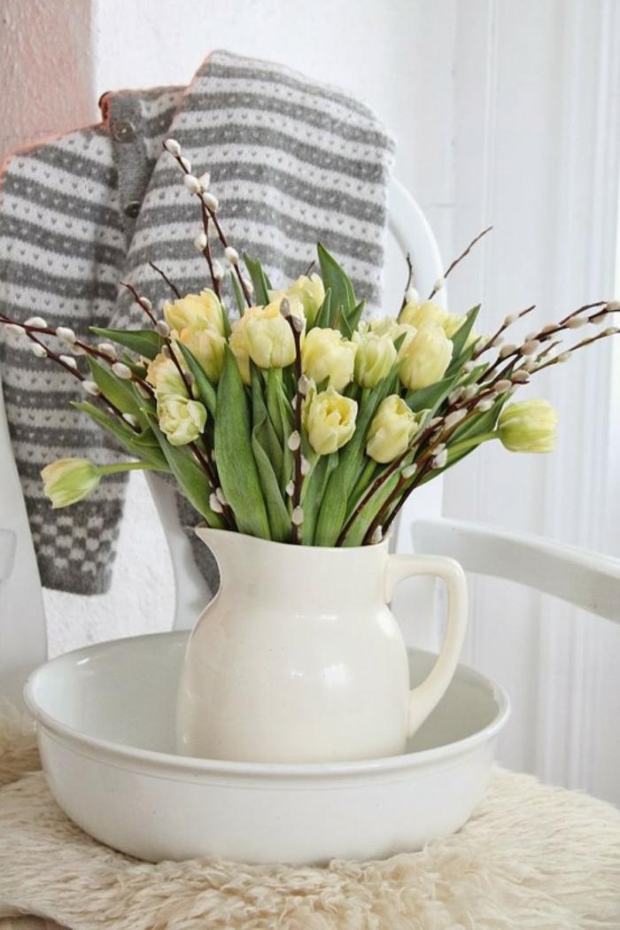Frühlingsdeko basteln mit Naturmaterialien tischdeko