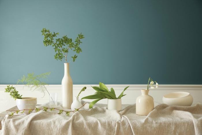 Frühlingsdeko basteln mit Naturmaterialien weidenzweig wohnzimmer