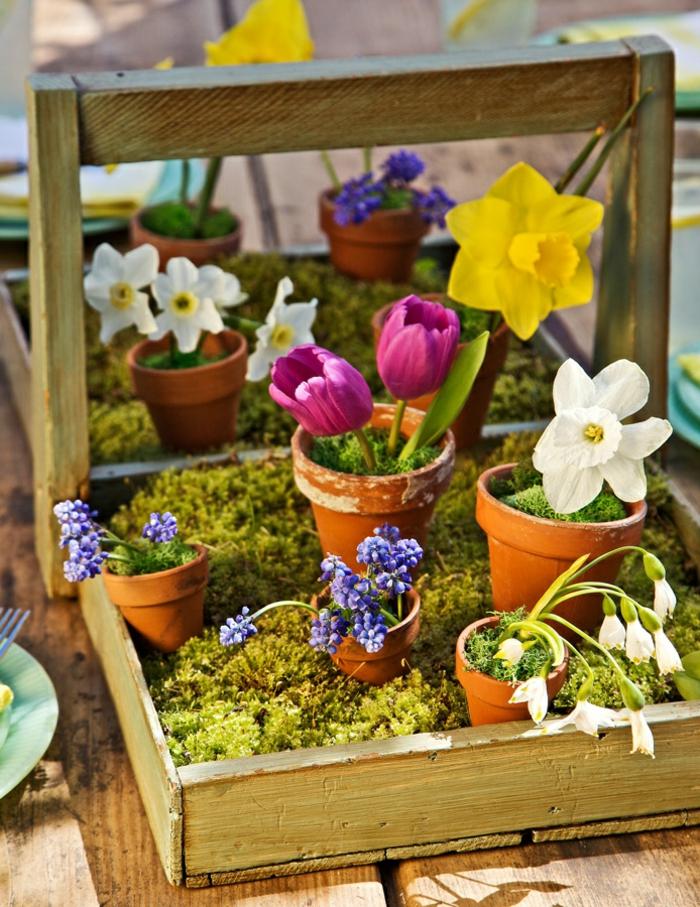 Frühlingsdeko basteln mit Naturmaterialien werkzeugkiste