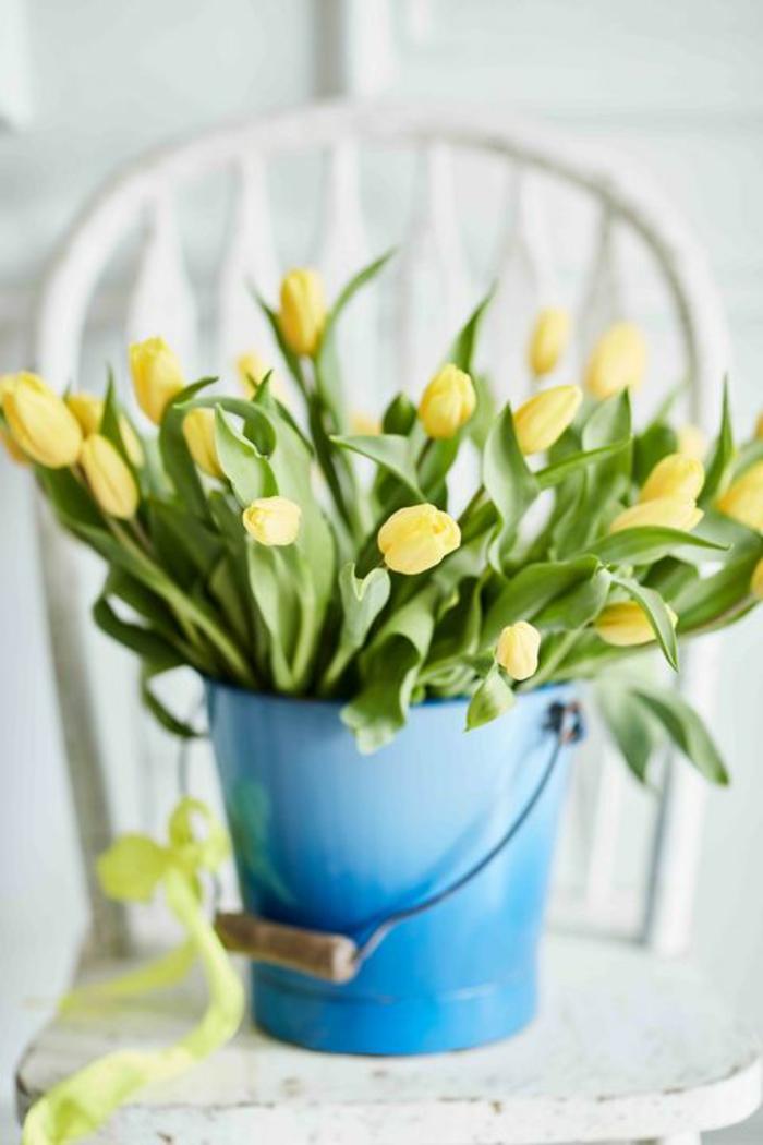 Frühlingsdeko basteln mit Naturmaterialien zarte narzisse