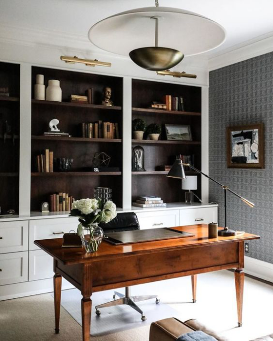 Home Office Guide klassisch-elegante Raumgestaltung fördert das schöpferische Denken Schrank Schreibtisch laptop sehr stilvoll