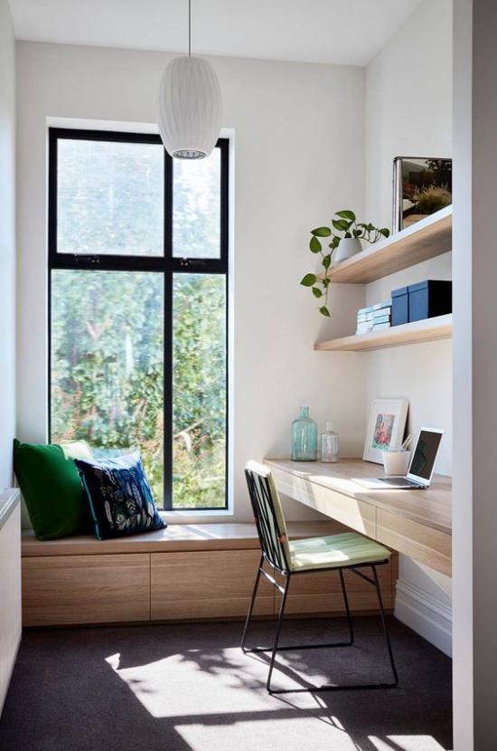 Home Office Guide kleiner Raum abgetrennt vom Wohnbereich schönes Heimbüro herrliche Aussicht