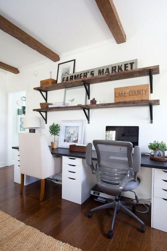 Home Office im Landhausstil rustikale Einrichtung und Raumdekoration High Tech Ausstattung