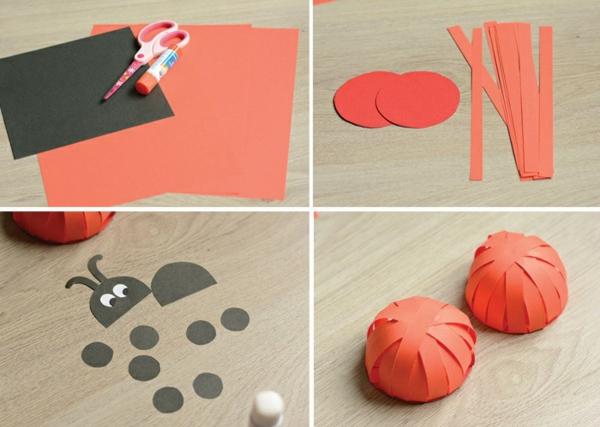 Marienkäfer basteln 3 einfache Bastelideen aus Papier 3D Marienkäfer
