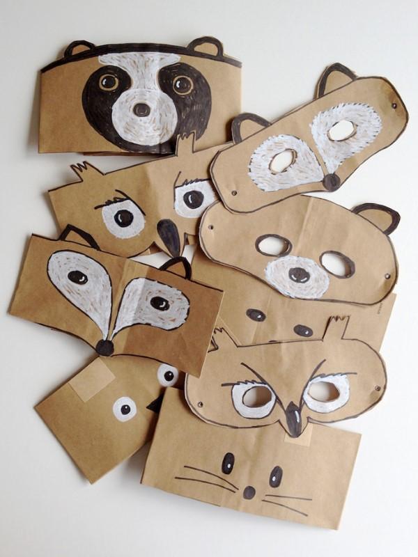 Tiermasken basteln mit Kindern zum Fasching – kreative Ideen und einfache Anleitung einfache masken braunes papier