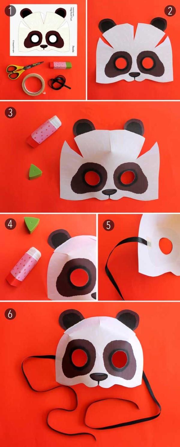 Tiermasken basteln mit Kindern zum Fasching – kreative Ideen und einfache Anleitung panda kostüm basteln