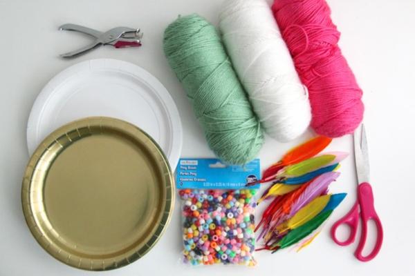 Traumfänger für Kinder basteln Materialien