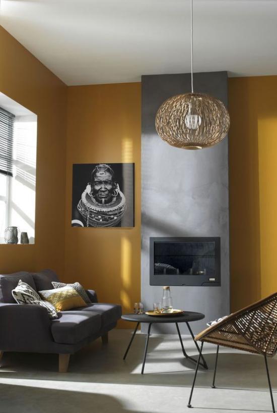 Trendfarben 2021 im Interieur minimalistisches Raumdesign ein auffälliges Farbduo Wandbild